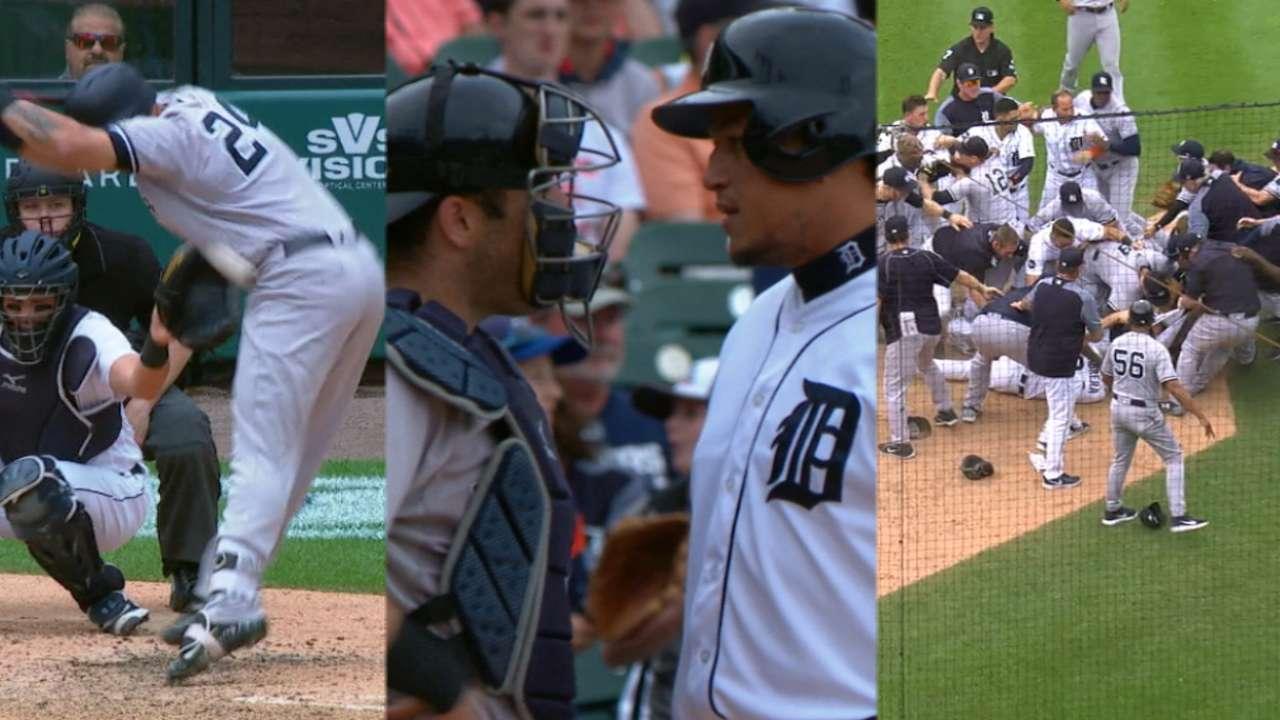 MLB anuncia suspensiones y multas por trifulcas en Detroit