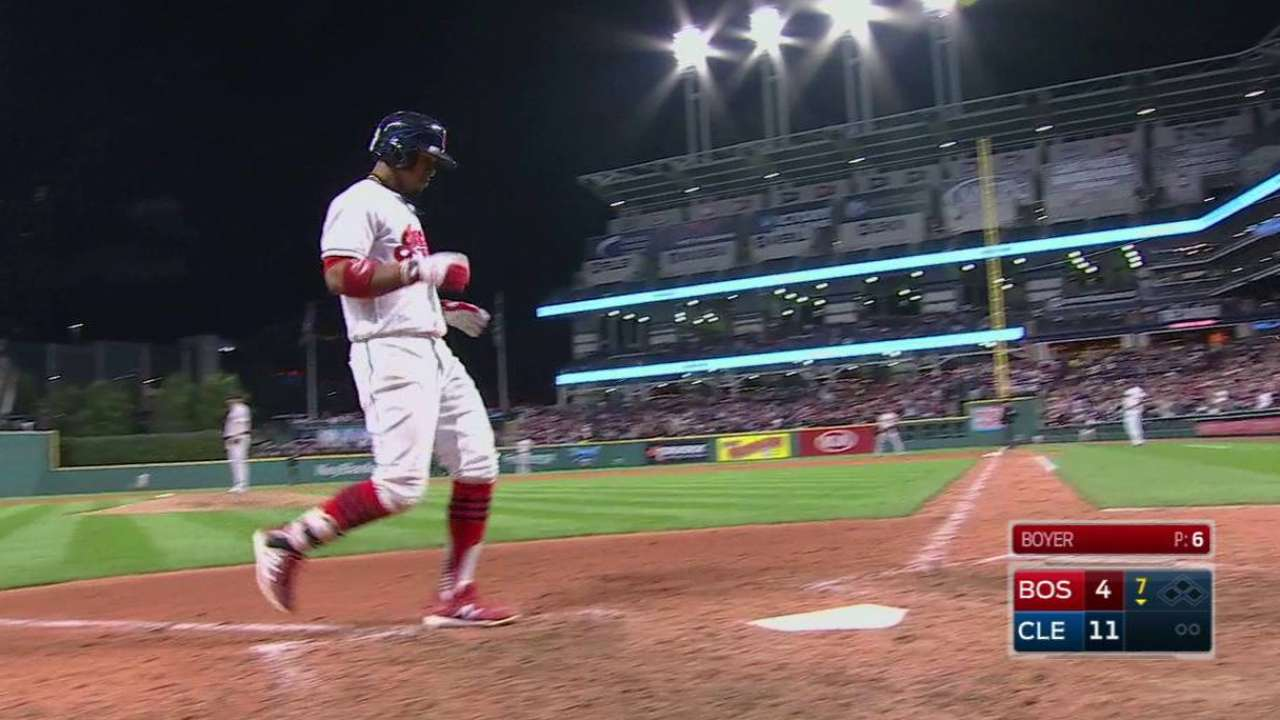 Tribe tags Sale for 7 runs, pads Central lead
