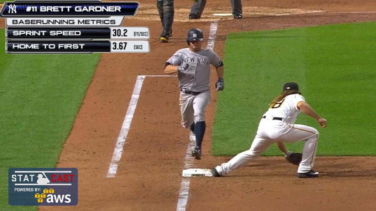 Statcast: Gardner speeds on bunt