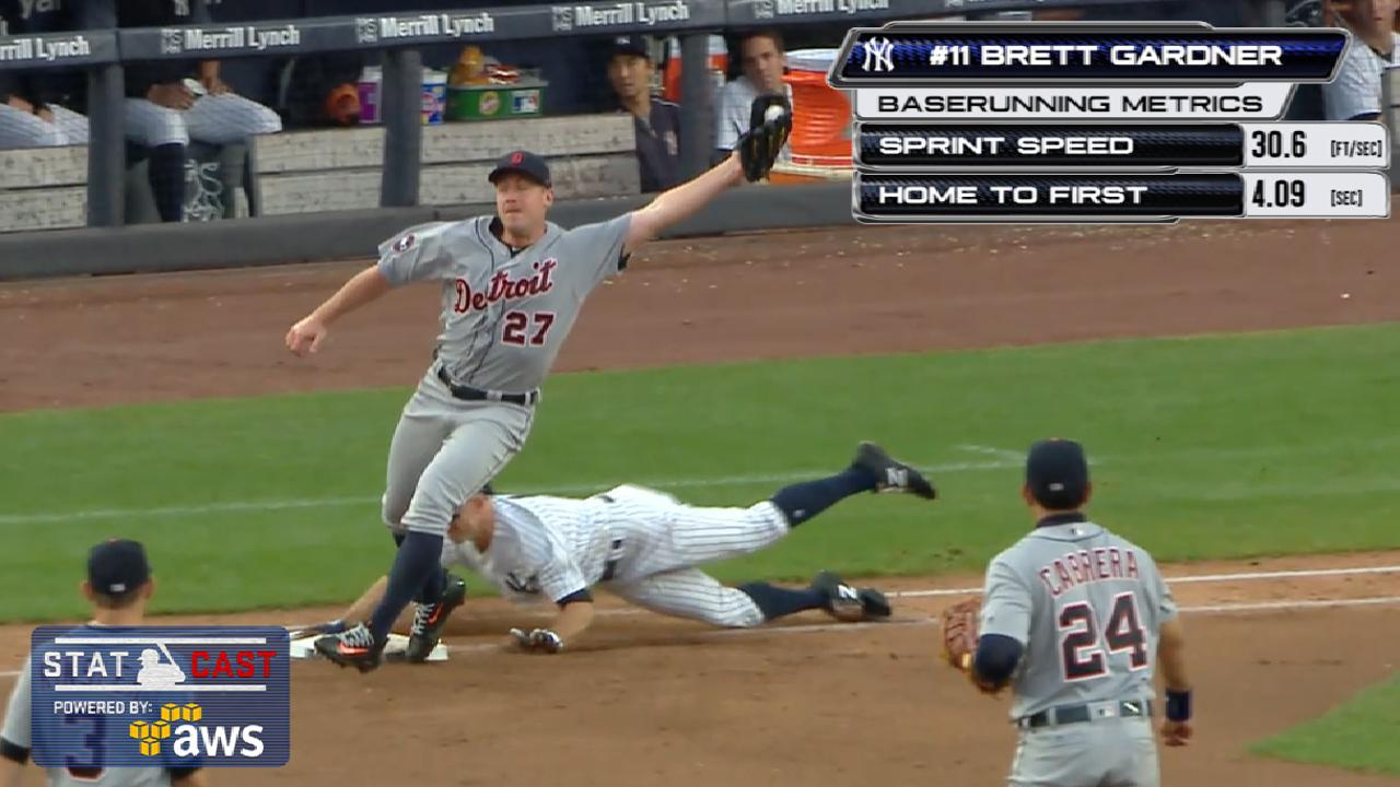 Statcast: Gardner runs to first