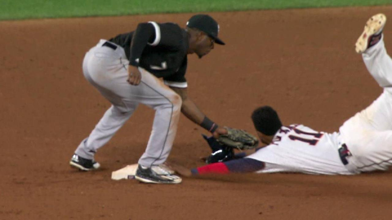 Polanco ruled safe at second