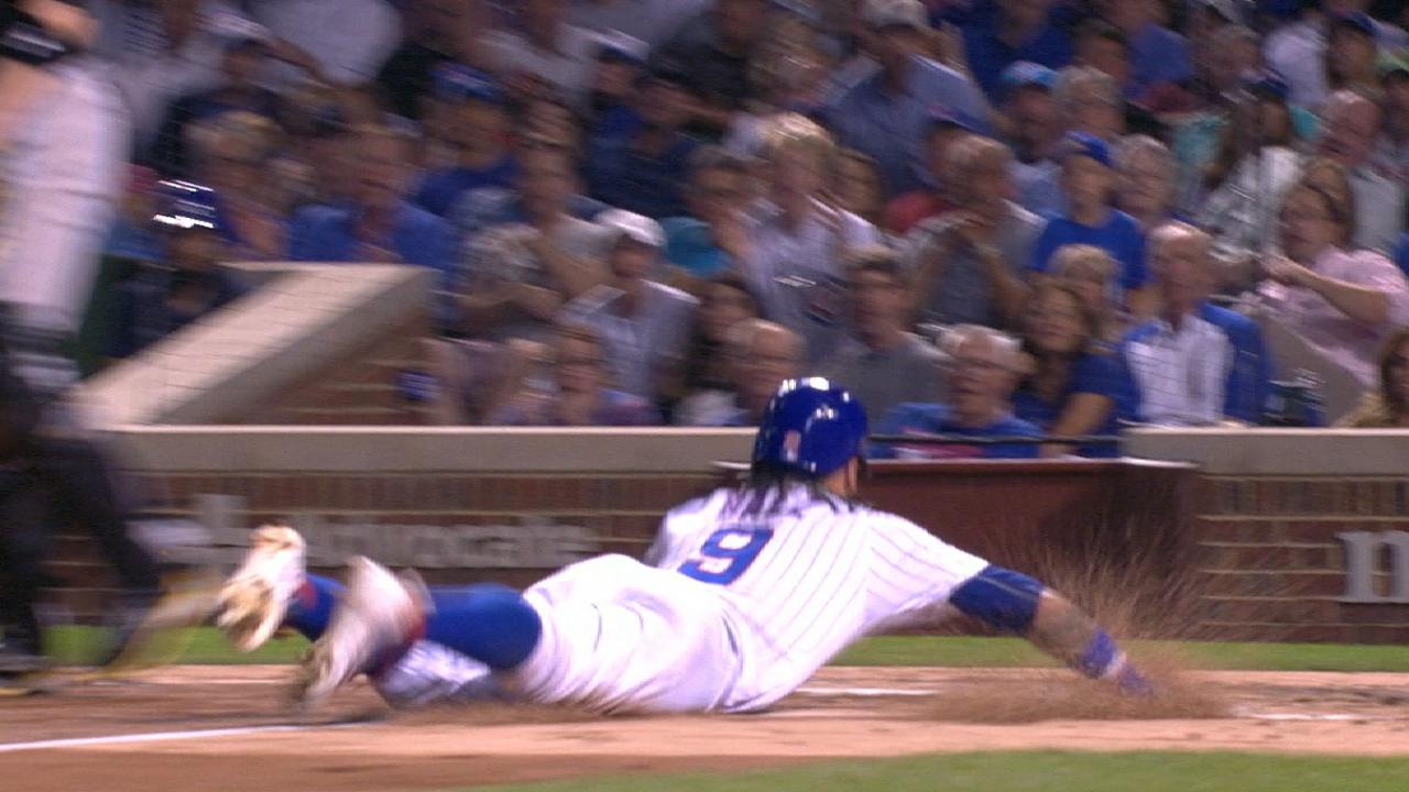 Baez steals home