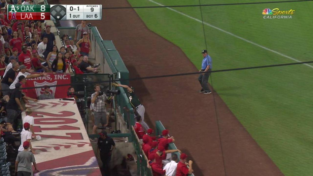 Chapman's catch over the railing