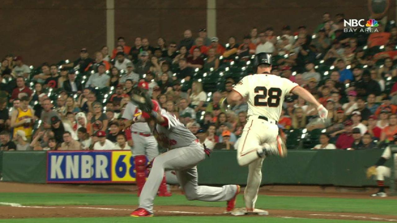 Posey reaches after call stands