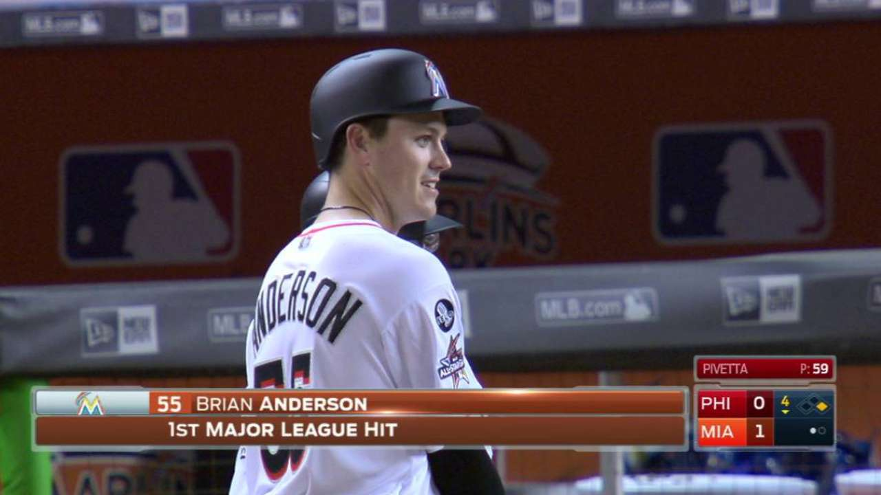 Anderson's first career hit