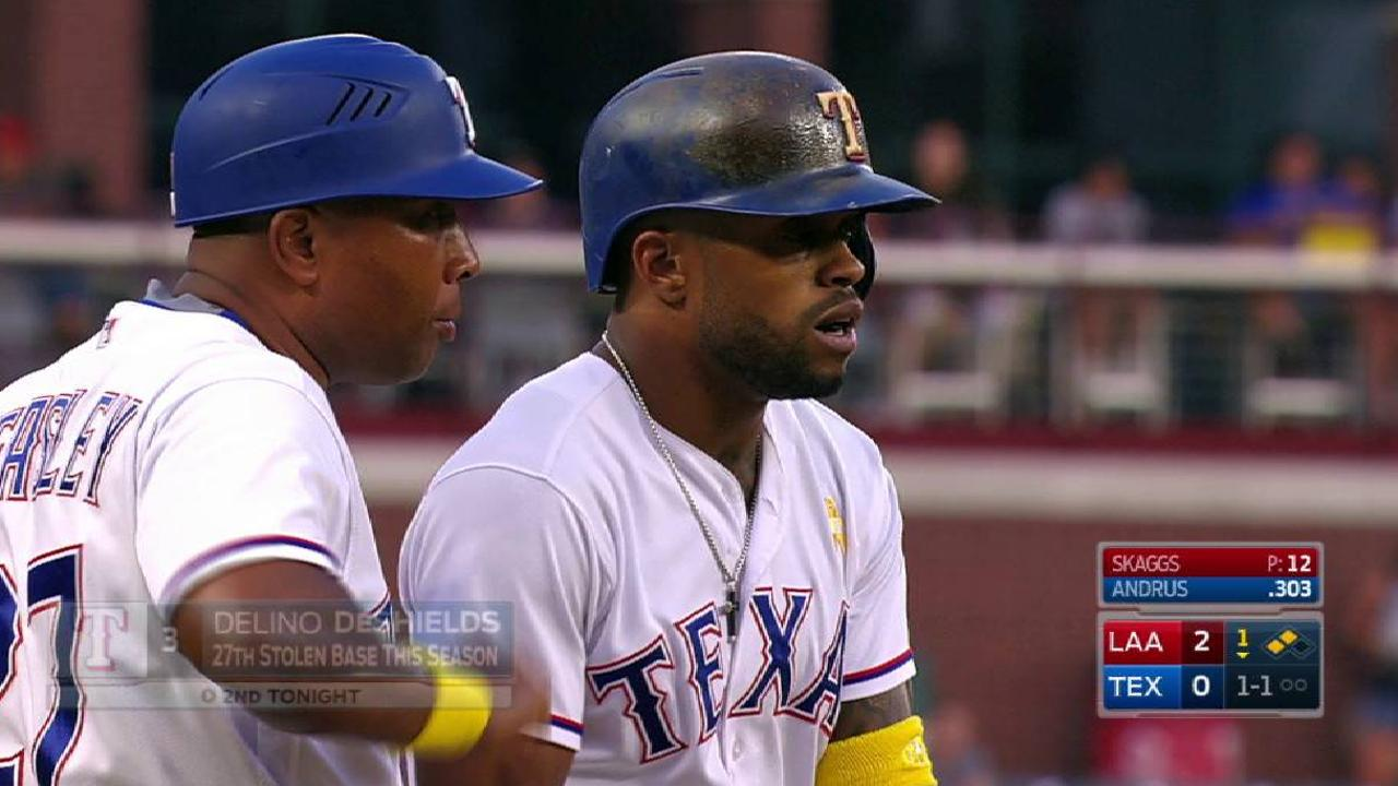 Rangers execute double steal