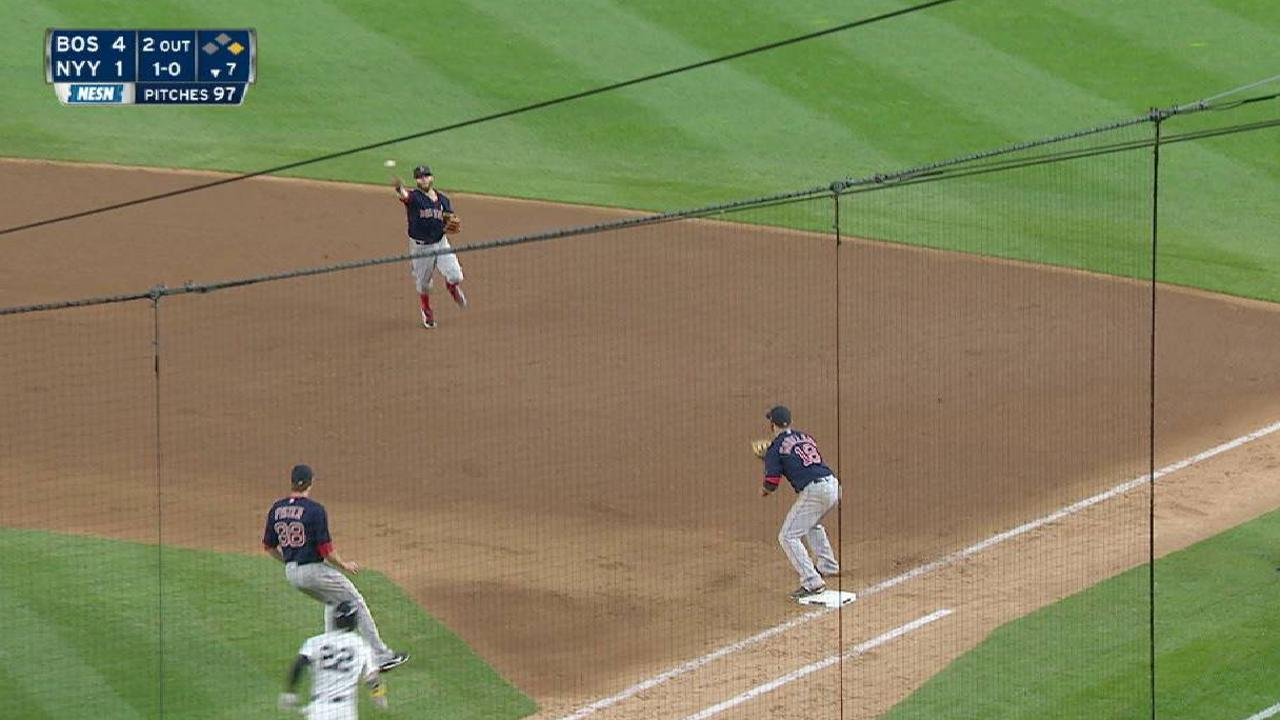 Pedroia nabs Ellsbury at first