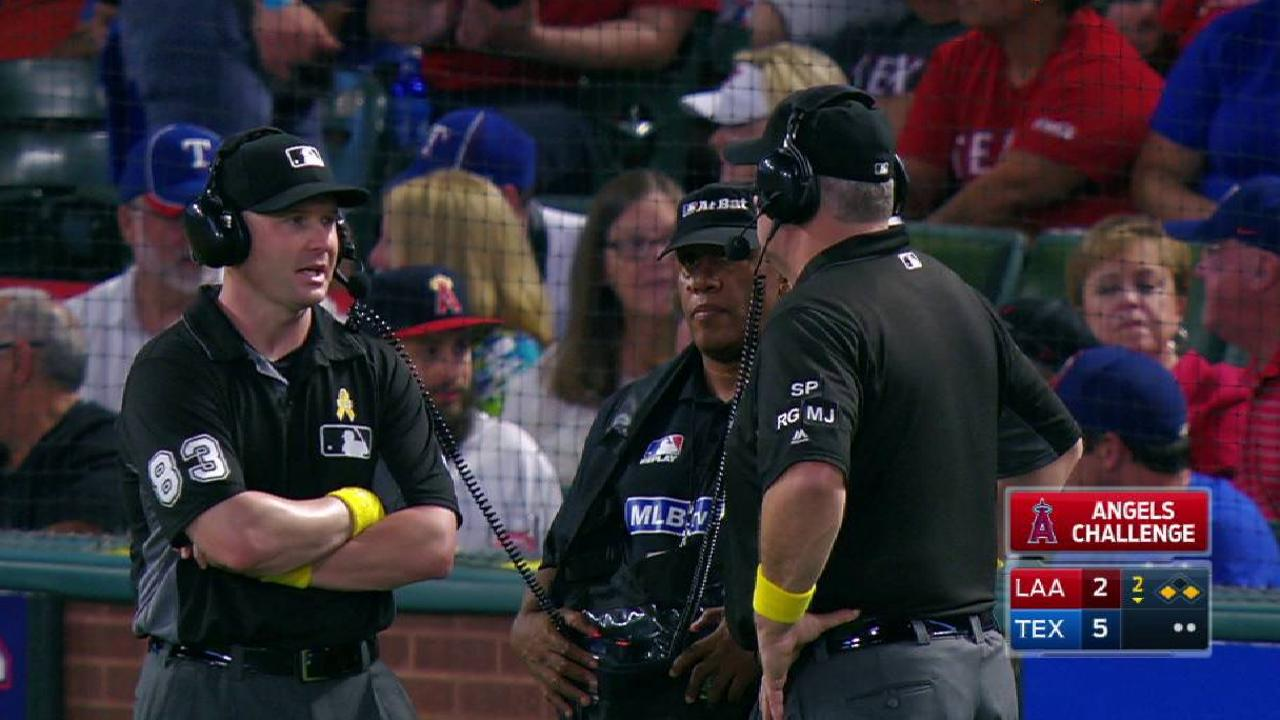 Angels challenge call at second