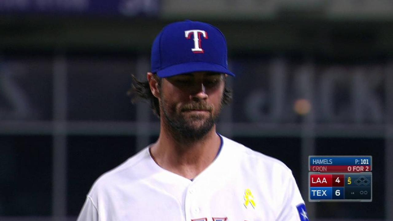 Hamels works out of trouble