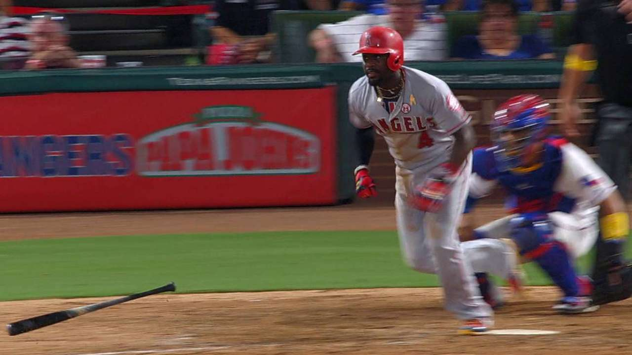 Phillips' first hit as an Angel
