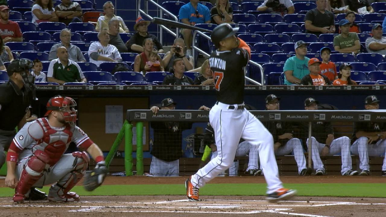 Stanton, Marlins hold off Phillies in slugfest