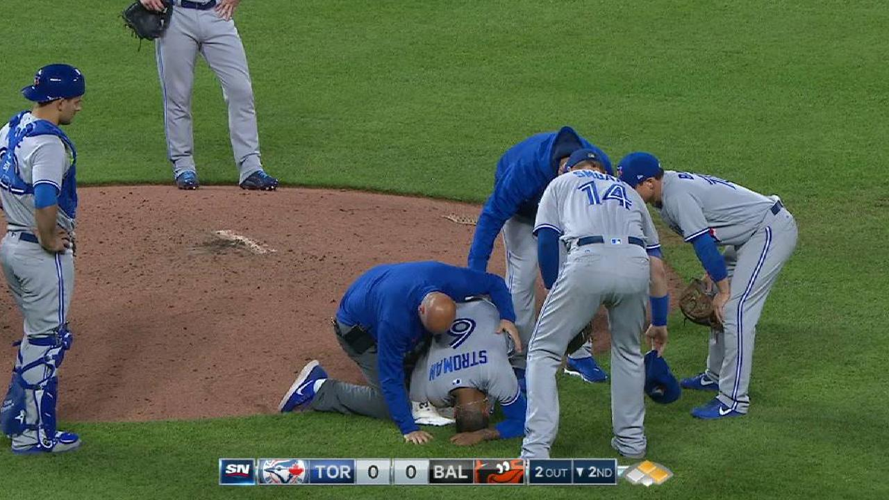 Stroman gets hit by comebacker