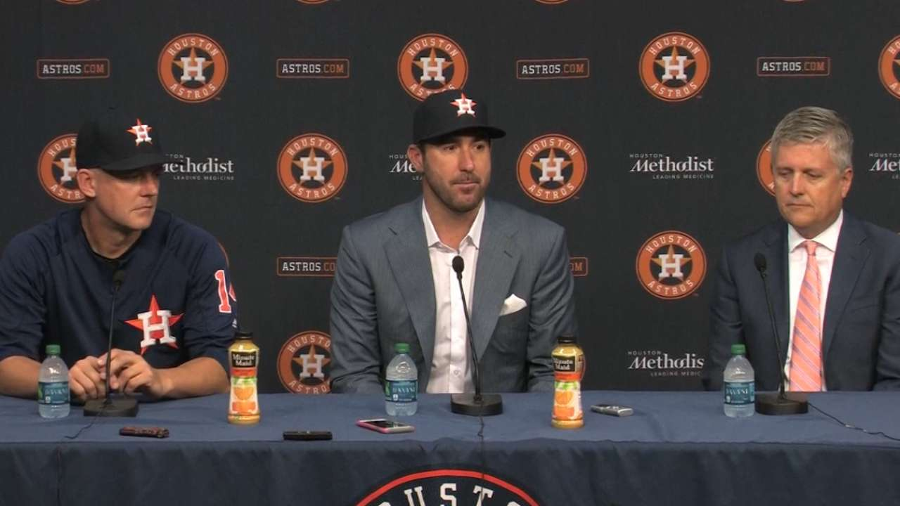 Verlander: 'Really happy' to join AL-best Astros