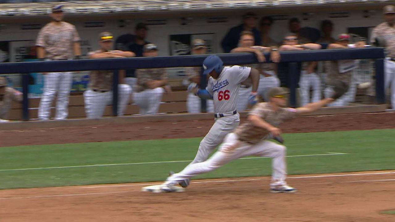 Puig's infield single stands