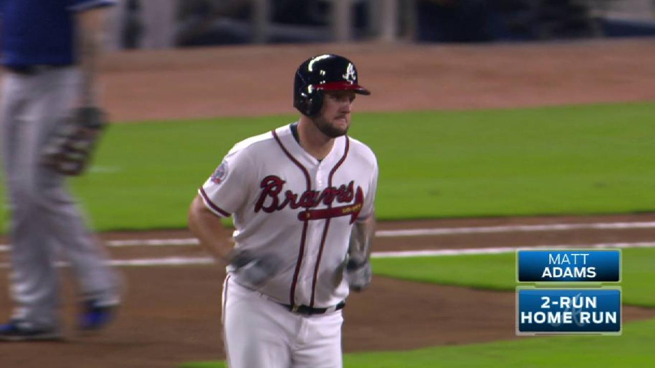 Adams hits 20th but Texas overpowers Braves