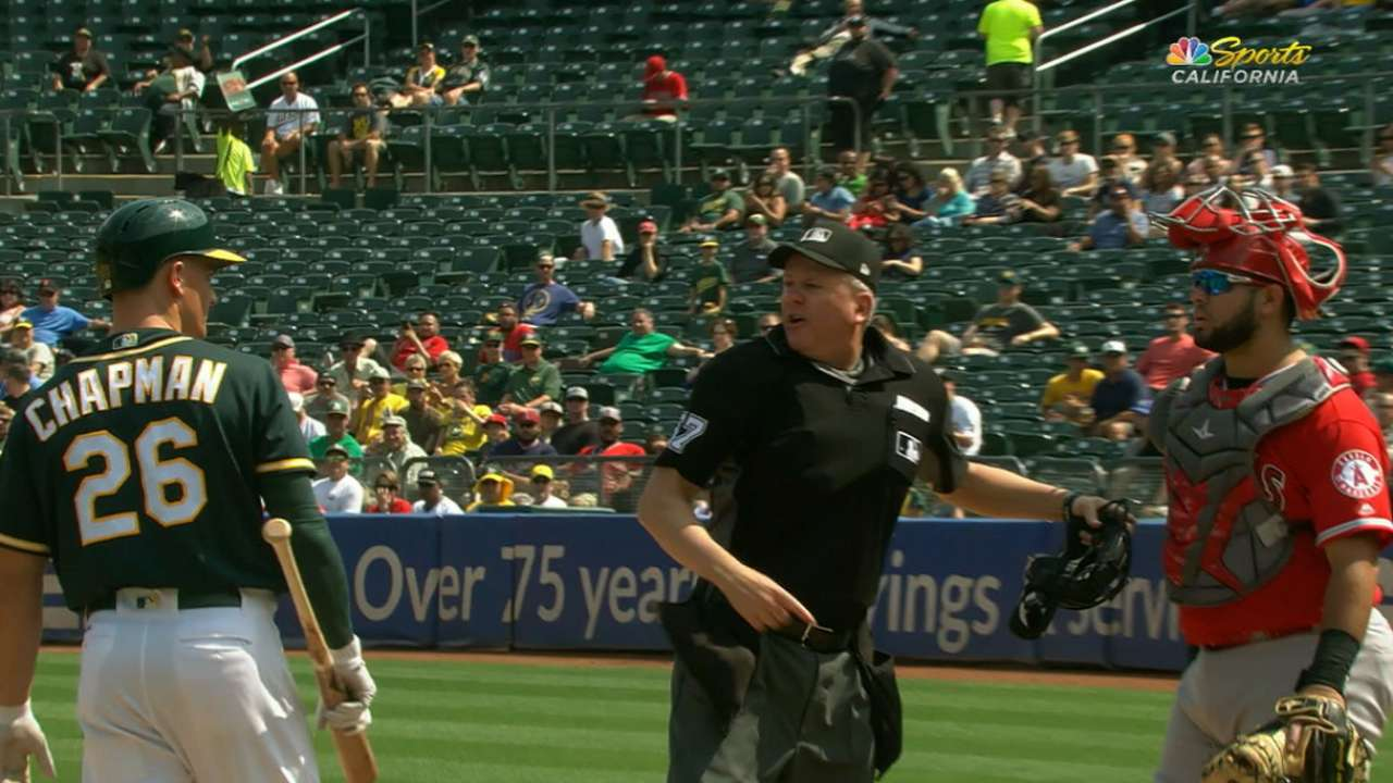 Chapman ejected after incident at home plate