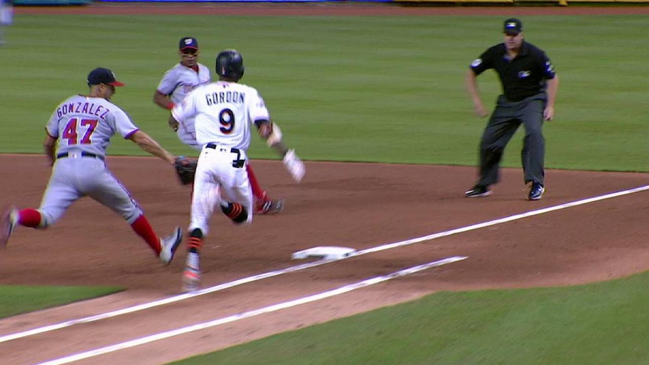 Marlins challenge play at first