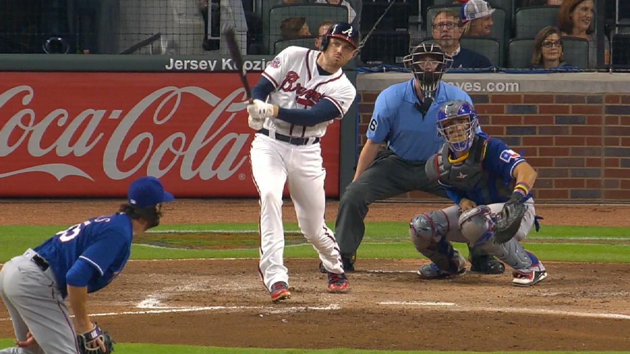 Braves hang on to beat Rangers, split twin bill