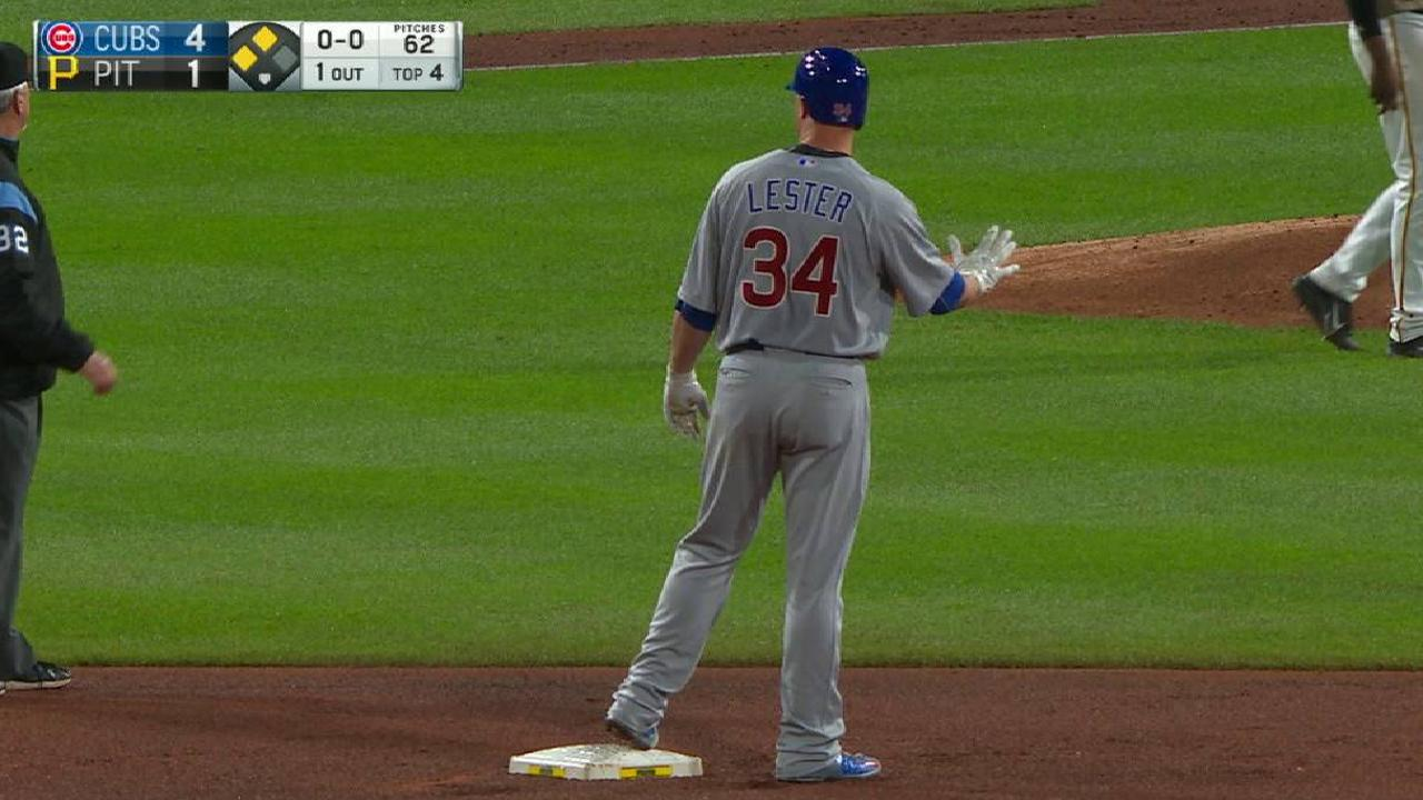 Lester's RBI double to the gap