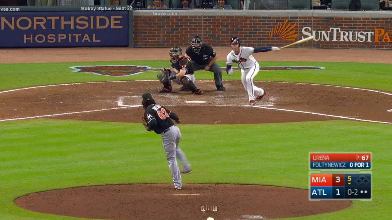 Urena's arm, bat help lift Marlins past Braves