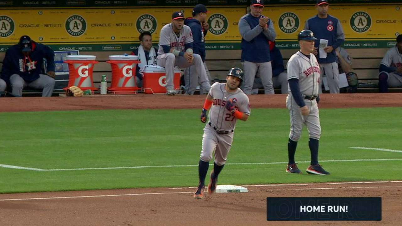 Astros hit 3 homers but can't hold off A's rally