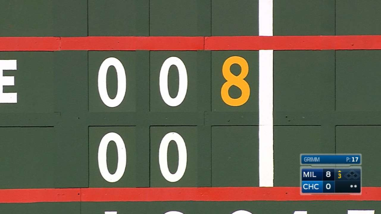 Crew crushes Cubs, cuts Central deficit to 3