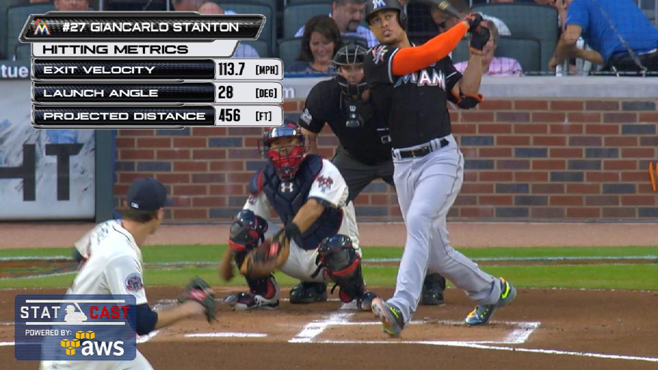 Stanton hits 54th HR, most in MLB since '10