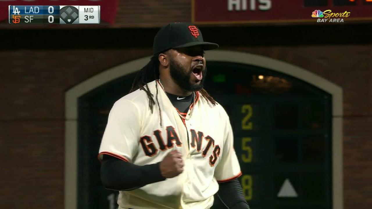 Cueto escapes trouble in the 3rd