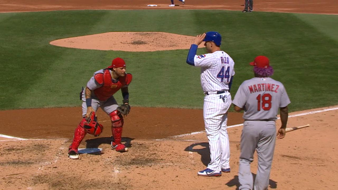 Pham throws out Rizzo at home