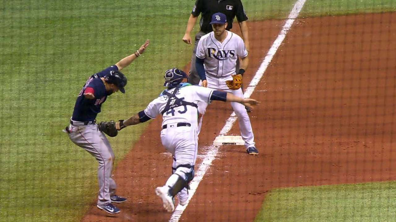 Rays' replay challenge denies Sox run in 11th