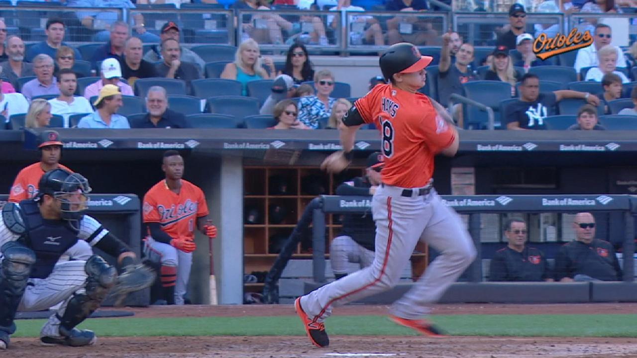 Hays' first MLB hit