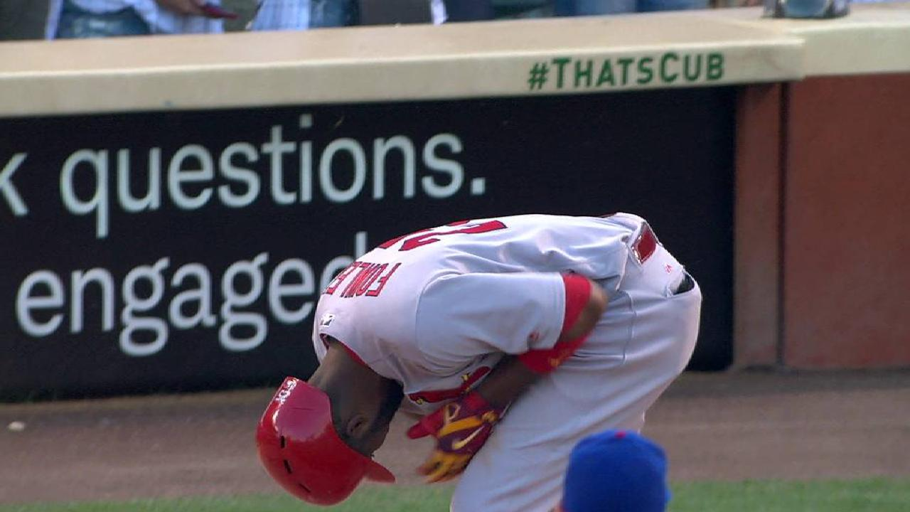 Fowler hit by pitch in first game back