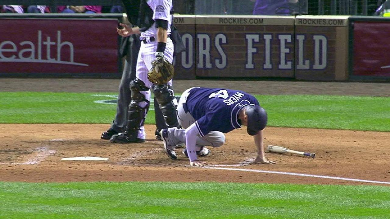 Myers exits after fouling ball off back of leg