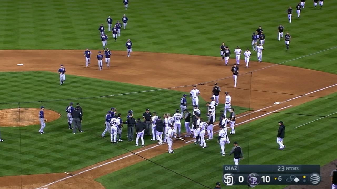 Benches clear at Coors Field