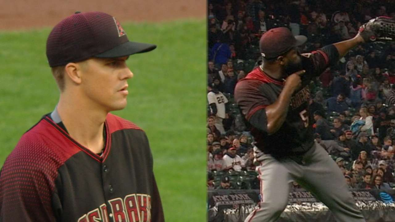 Greinke brilliant, Goldy homers to beat Giants