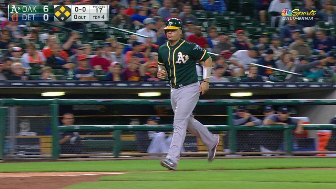 Lowrie draws bases-loaded walk