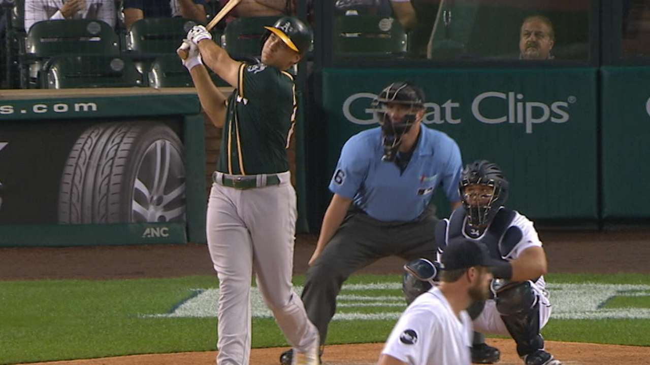 For A's rookie Olson, success started at home