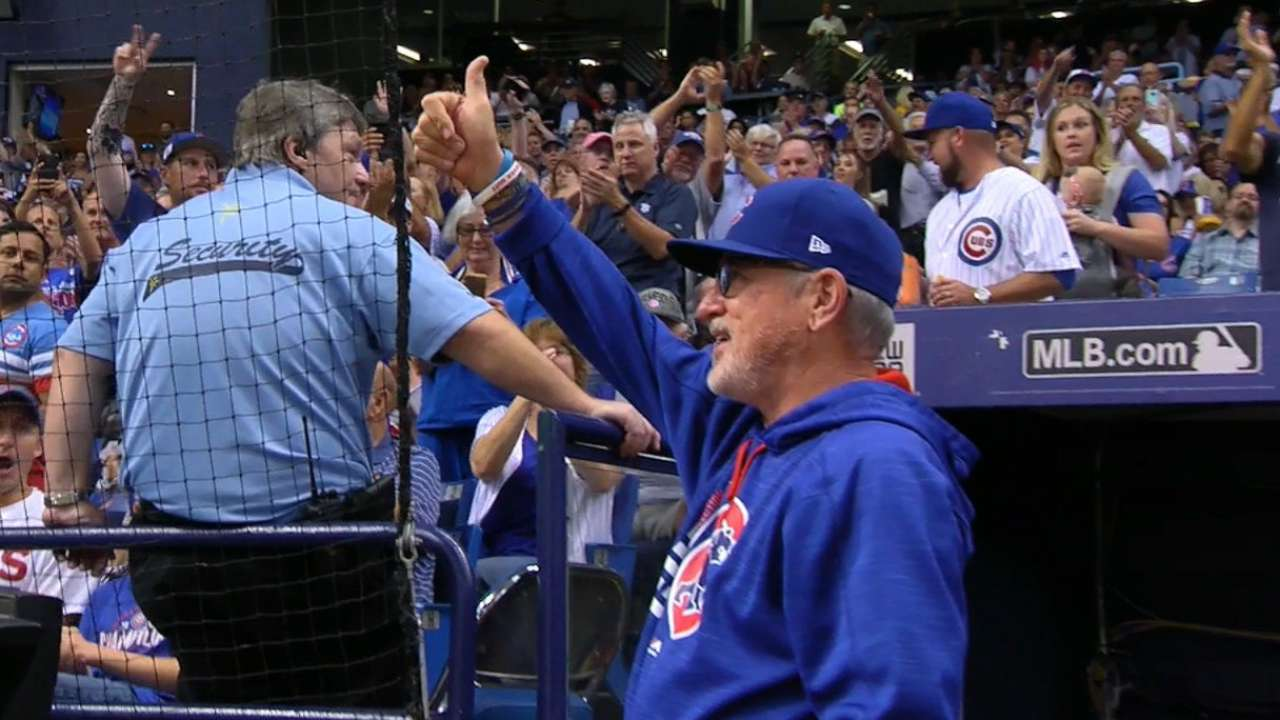 Maddon honored by Rays in return to St. Pete