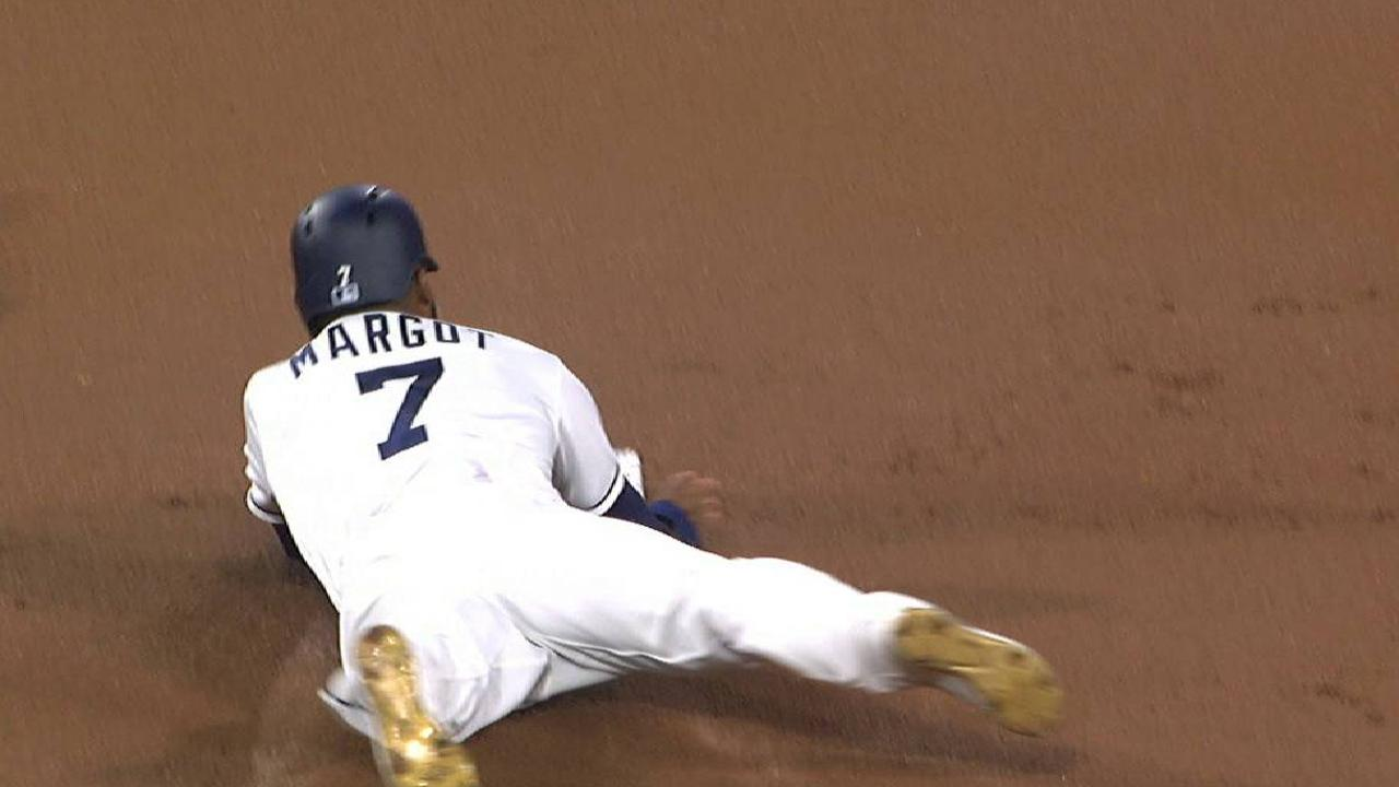 Margot steals second base