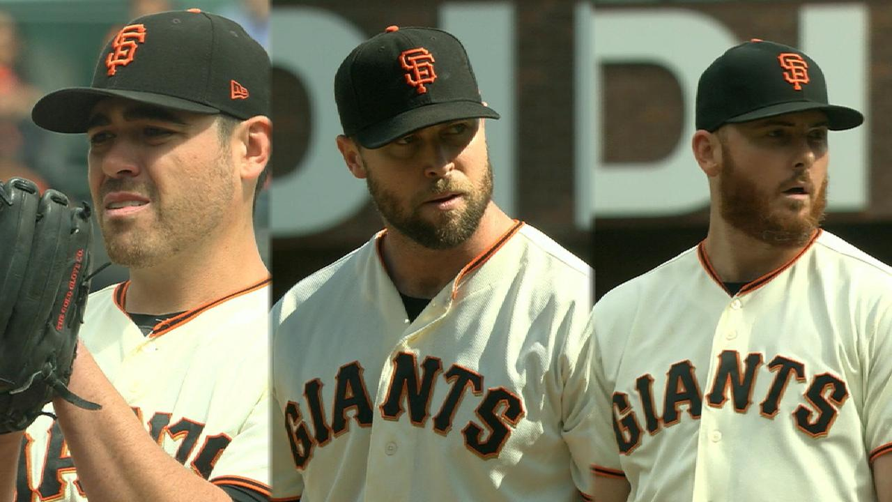 Moore, bullpen solid as Giants shut out Rox