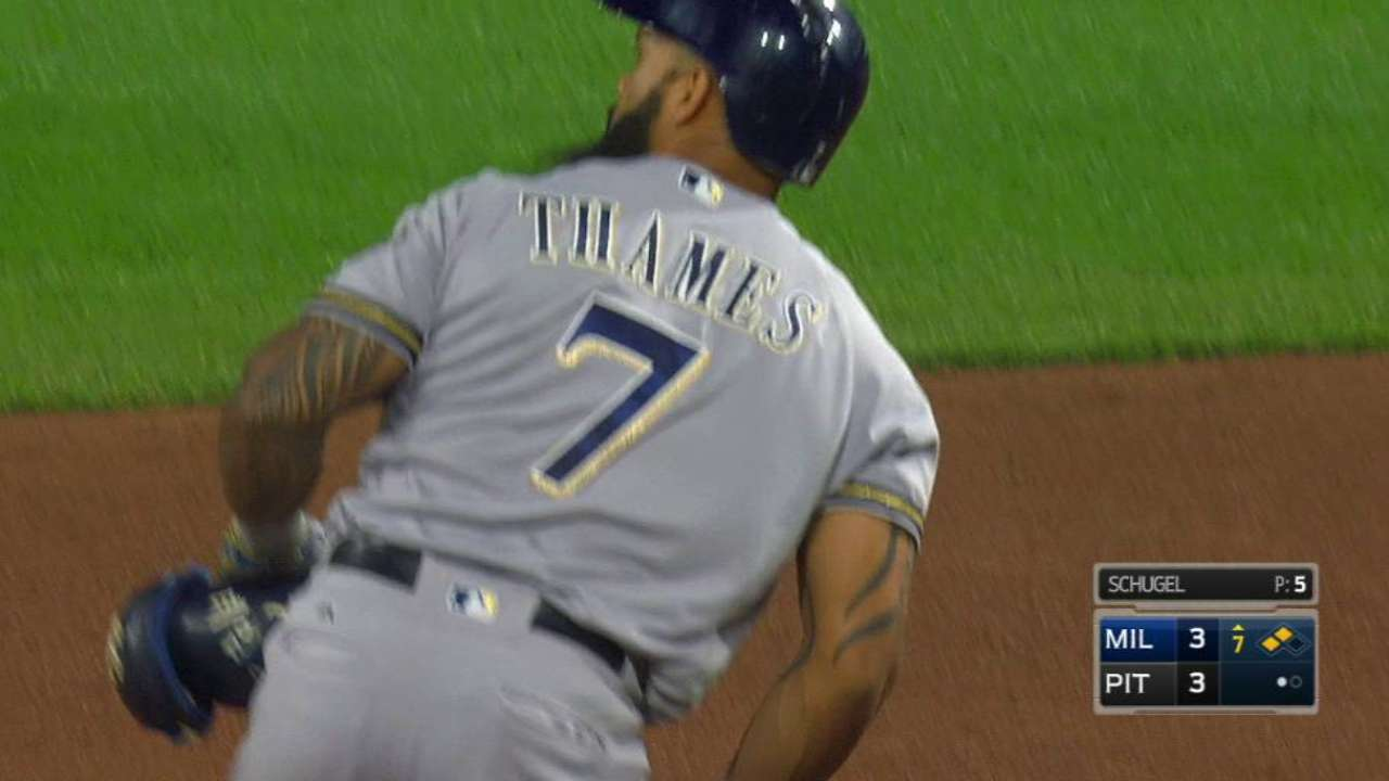 Thames' game-tying RBI double