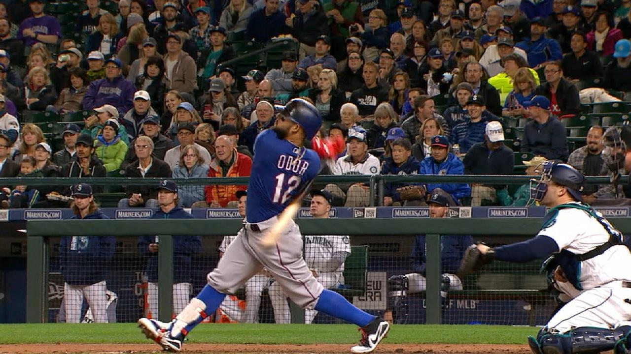 Odor, Rangers slam M's, gain in AL WC race