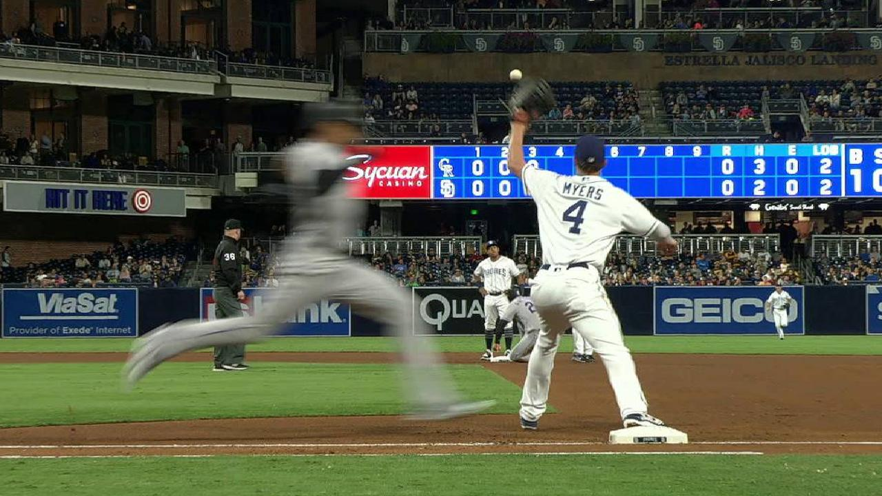 Padres challenge play at first