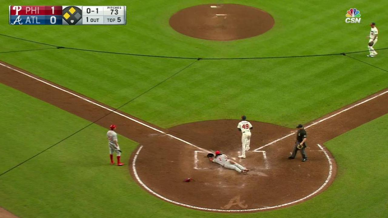 Franco scores on a wild pitch