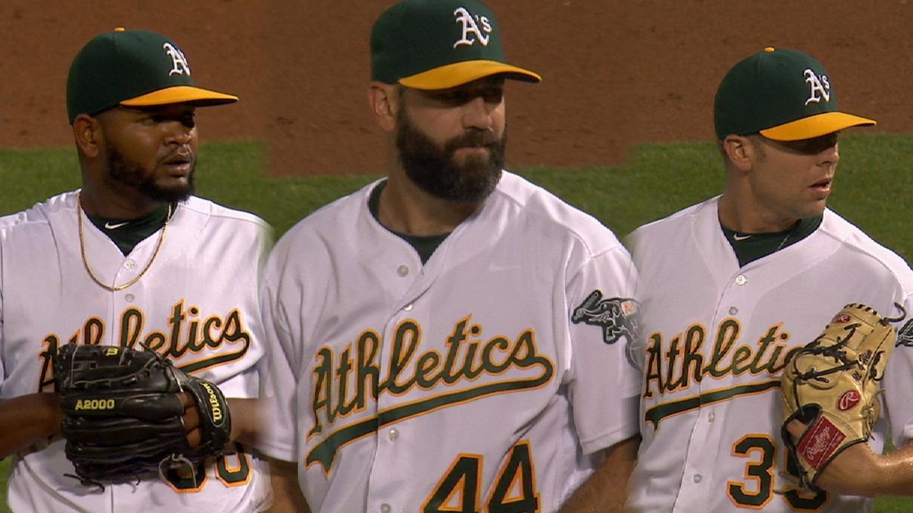 A's bullpen shuts out Rangers