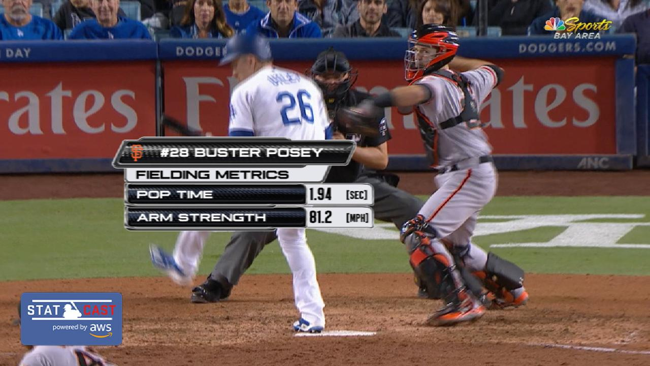 Statcast: Posey throws out Puig