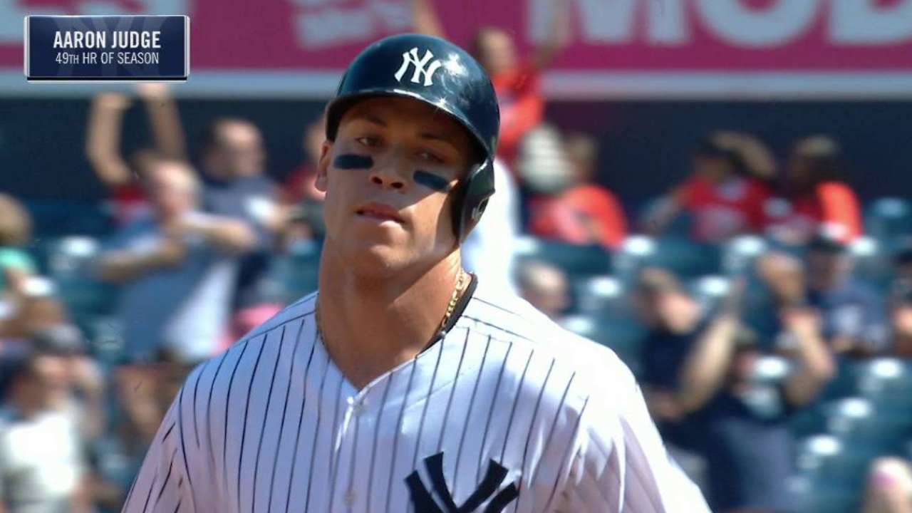 Judge's 49th homer ties MLB mark