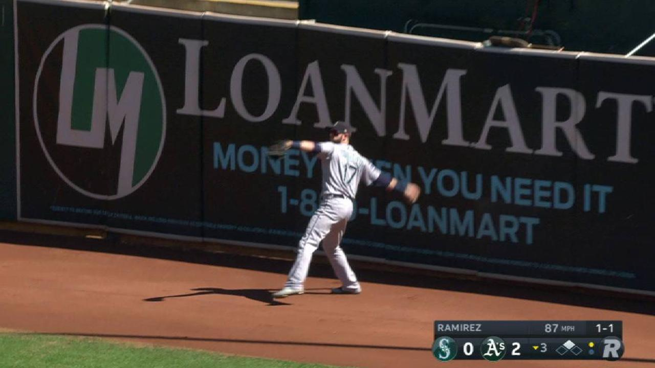 Haniger's leaping catch at wall