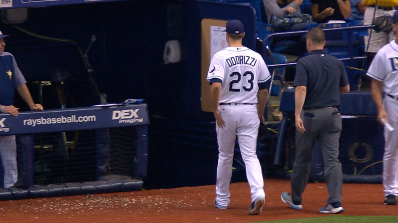 Odorizzi exits with right knee soreness