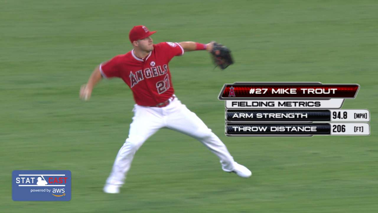 Statcast: Trout's 94.8-mph throw